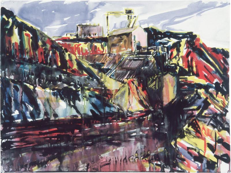 Mandy Martin Drawing for Landscape Prothesis 3, 1985; pigment, enamel paint on arches paper; 56.5 x 75.6 cm; enquire