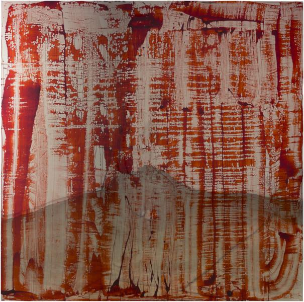 Dale Frank Bangladeshi, 2017; bluebird blood under Liquid Glass on perspex; 200 x 200 cm; enquire