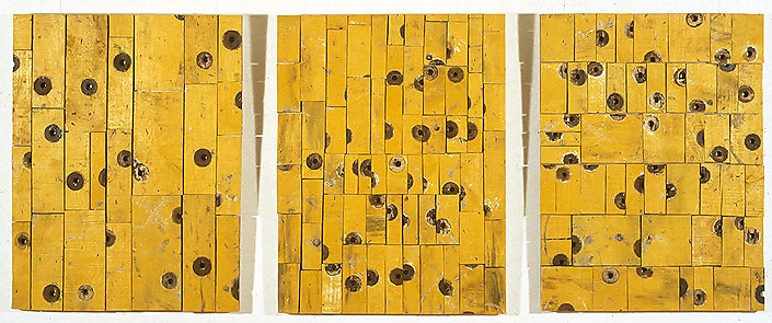 Rosalie Gascoigne Orangery, 1999; sawn wood on wood; 3 panels; enquire