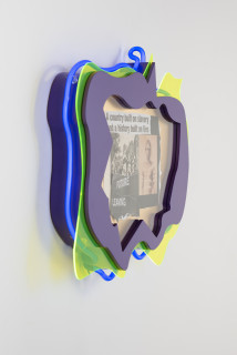 Brook Andrew This year, future leaving... (detail), 2020; paper, wood, neon, acrylic; 56 x 70 x 9 cm; enquire
