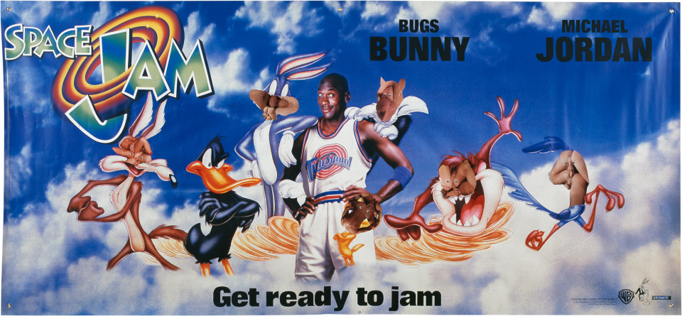 Dale Frank Get Ready To Jam (Portrait of the Artist accompanied  by Michael Jordan on a Day Trip to the MCA), 1997; wiggle eyes and paper on printed vinyl; 134 x 297 cm; enquire