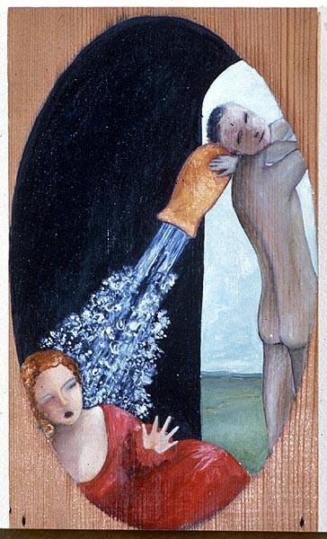 Vivienne Shark LeWitt Dangerous Acquaintances, 1987; oil on wood; 25.6 x 15.3 cm; enquire