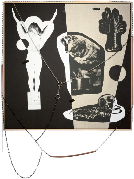 Sarah  Contos Luxury Constraints, 2015; Collaged screen print on linen, chains, copper, PVC and thread; 100 x 100 x 6 cm; enquire
