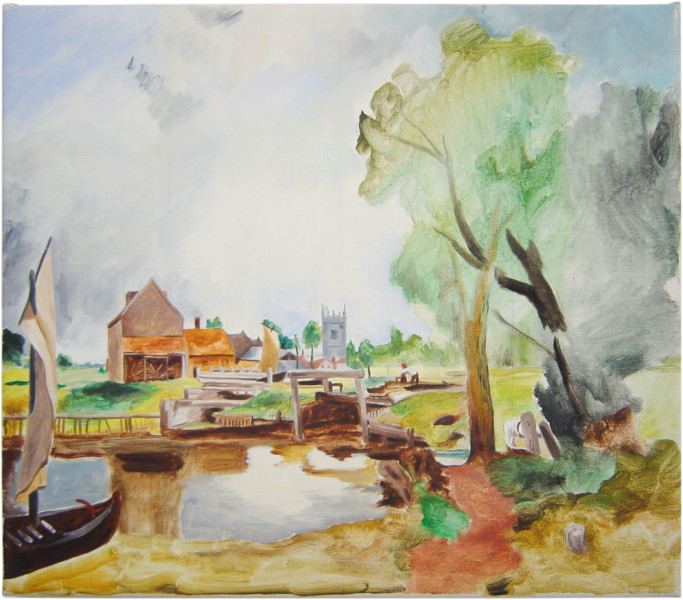 Linda Marrinon A boat passing a lock after John Constable, 2001; oil on canvas; 35.5 x 41 cm; enquire