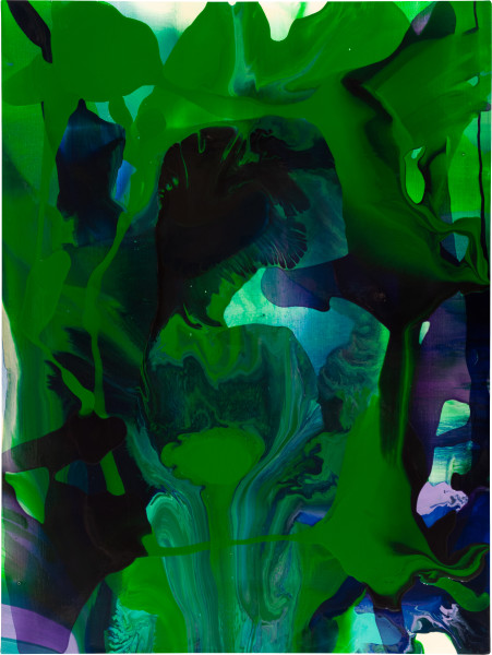 Dale Frank 25. He had left four paintings on the go in the studio when he left, wet, moving around, they were left to find their own way. If they just stayed calm they would be able survive the every gradually solidifying ooze in which they lay., 2009; varnish on canvas; 120 x 160 cm; enquire