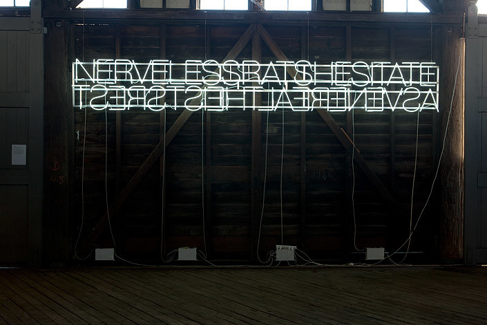 Newell Harry Reverse Missionary (Nerveless Rats Hesitate/As Venereal Theists Rest), 2010; neon, hevetica neue lite (snow white), aluminium armature; 110 x 550 cm; Edition of 5 + AP 2; enquire