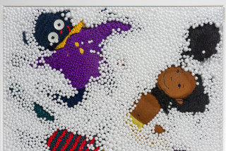 Destiny Deacon and Virginia Fraser Snow storm (detail), 2005; golliwogs, polystyrene and perspex cube; 40 x 40 x 40 cm; enquire