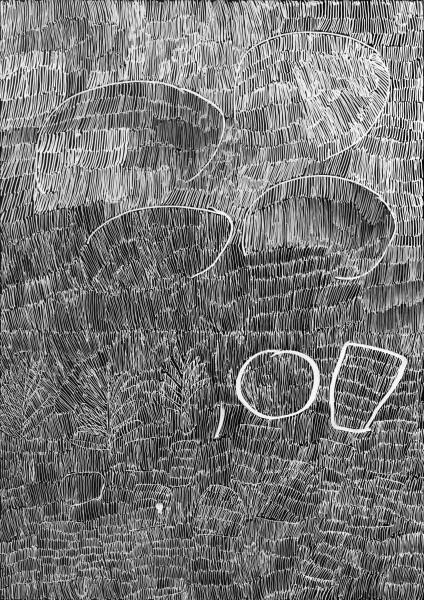 Nyapanyapa Yunupingu 35. Birrka'mirri 6, 2011; 4303C; paint pen on clear acetate plastic; 83.5 x 59.5 cm; enquire
