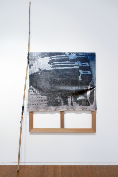 Brook Andrew Tower, 2016; Linen, cotton, timber, oil pastel, acrylic spray, ink, foil, bamboo, rubber; 160 x 135 x 5 cm; (340cm height of installation); enquire