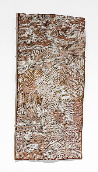 Nyapanyapa Yunupingu Untitled, 2012; 4099Y; natural earth pigments on bark; 86 x 40 cm; enquire