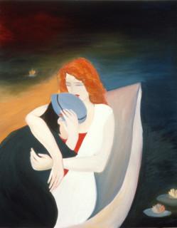 Vivienne Shark LeWitt Farewell My Lovely (detail), 1984; oil on marine board, 2 panels; 182 x 90 cm; enquire