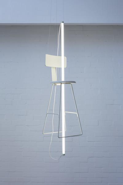 Bill Culbert Off White, 2018; chair, fluorescent tube; 120 x 34 x 34 cm; enquire