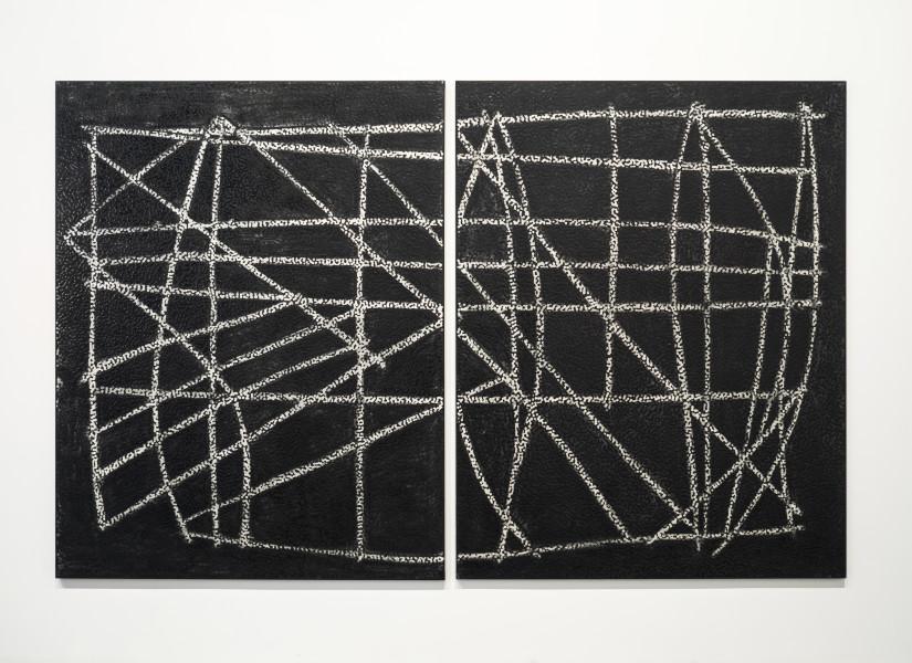 Daniel Boyd Untitled (TI1), 2015; oil and archival glue on linen; 213 x 334 cm; enquire