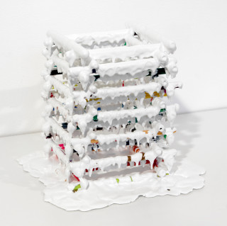 Teppei Kaneuji White Discharge (Pens #2), 2011; found objects, resin, glue; 20 x 20 x 20 cm; enquire