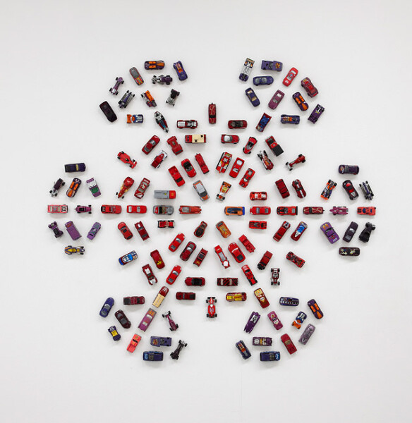 Claire Healy and Sean Cordeiro Autoflake RP126, 2012; toy cars, magnets; 109 x 119 x 4 cm; enquire