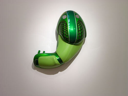 Patricia Piccinini Cyclepups: Mantis, 2005; fibreglass, automotive paint, leather and stainless steel; 40 x 110 x 50 cm; enquire