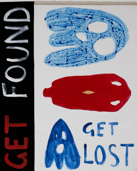 Nell GET LOST GET FOUND, 2018; acrylic paint and stingray skin on canvas; 91.4 x 73.8 cm; enquire
