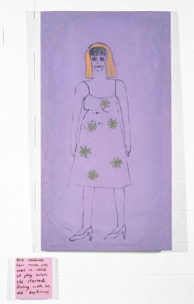Jenny Watson Reproduction, 1992; Oil on taffeta with netting and sequins plus synthetic polymer paint on stretcher; 147cm x 80cm; 25cm x 23cm; enquire