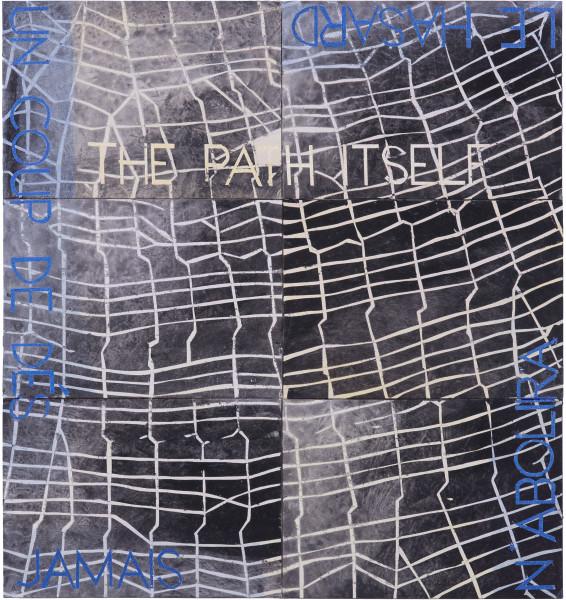 Imants Tillers Metaphysical Detail XIX, 2018; synthetic polymer paint, gouache on 6 canvasboards, nos. 107922–107921; 75.5 x 70.5 cm; Enquire