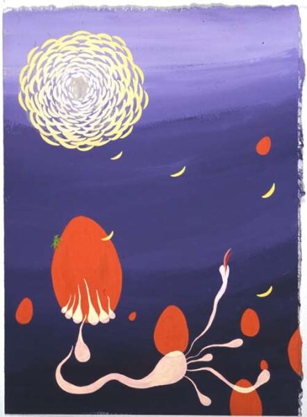 Nell Chrysanthemum Moon-Night, 2004; gouache on paper; 28.7 x 21.2 cm; enquire