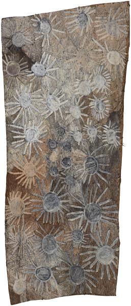Nyapanyapa Yunupingu untitled, 2018; 3893-18; natural earth pigments on bark; 185 x 80 cm; Enquire