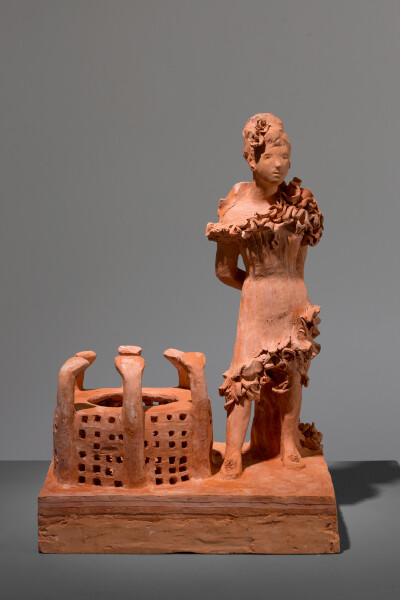 Linda Marrinon Figure with Melbourne Cricket Ground, 2018; terracotta; 34 x 22 x 15 cm; enquire