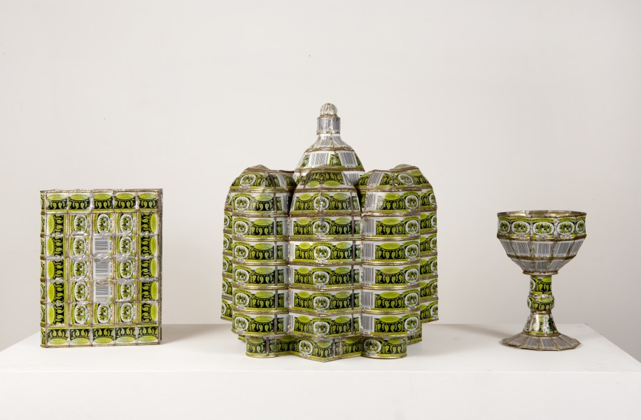 Fiona Hall Cargo Cult (Piper nigrum/black pepper), 1993; green peppercorn tins; dimensions variable; enquire