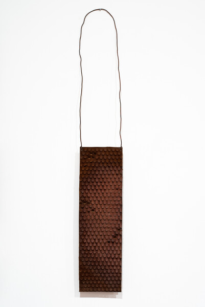 Lorraine Connelly-Northey Narrbong, 2019; CONNL - 0008; rusted iron, tin backing, wire; 170 x 26 x 7 cm; enquire