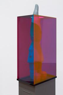 Mikala Dwyer Letterbox Gnome, 2018; fibreglass, acrylic, painted steel; 175 x 34 x 25 cm; Enquire