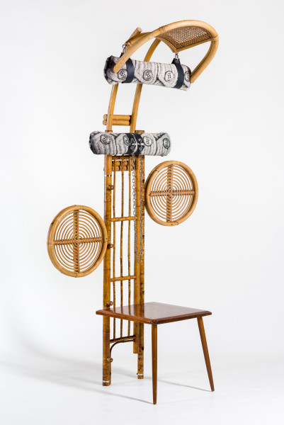 Sarah  Contos Chess-table, 2019; repurposed cane and leather, screen-print on canvas, stainless hardware; 179 x 97 x 52 cm; Enquire