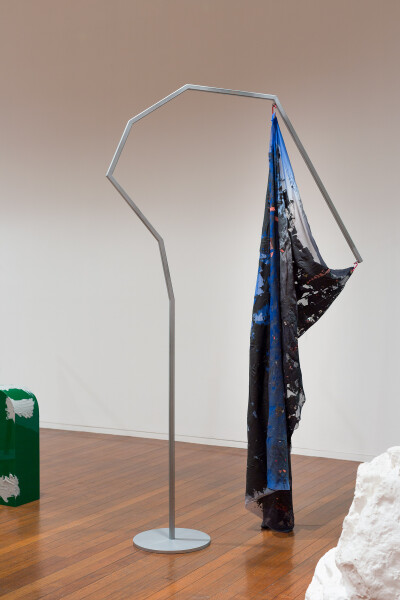 Mikala Dwyer Flags, 2018; painted steel, fabric, carabiner; 237 x 130 x 36 cm; (II); Enquire