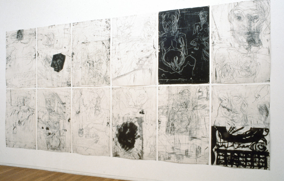 Mike Parr Par-sing, 1992; etching from steel plates; 244 x 560 cm; enquire