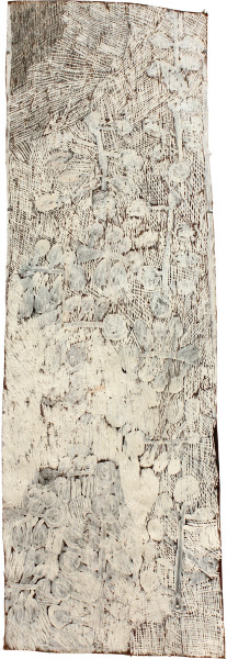 Nyapanyapa Yunupingu Badatjuna, 2011; 4046X; natural earth pigments on bark; 142 x 55 cm; enquire