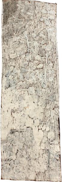 Nyapanyapa Yunupingu Badatjuna, 2011; 4046X; natural earth pigments on bark; 142 x 55 cm; enquire