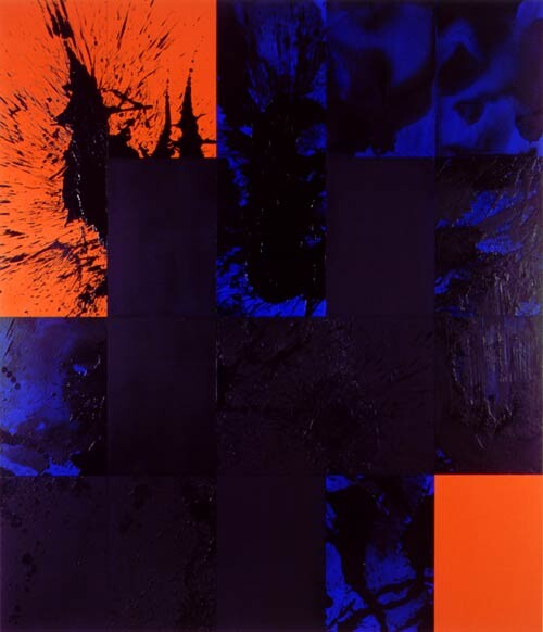 Lindy Lee 8 Negations, 2001; 20 panels, acrylic, oil, wax, and ink on board; 166 x 147 cm; enquire