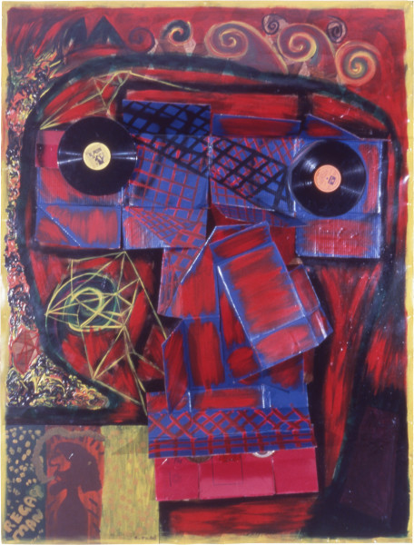 Dale Frank Portrait of the artist's brother and memories of Skull Island, 1984; acrylic and mixed media on rubber; 208 x 160 x 30 cm; enquire