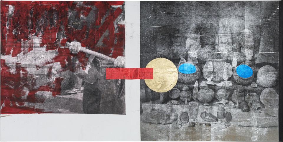 Brook Andrew Ceramics I, 2018; ink, acrylic paint, linen; 125 x 250 x 5 cm; enquire