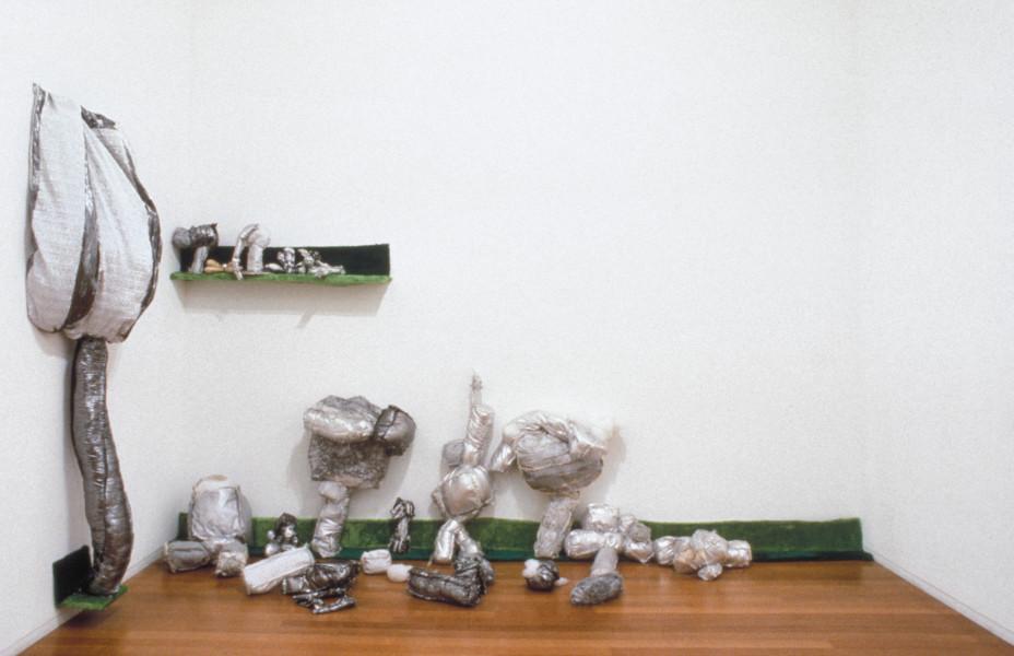 Kathy Temin Untitled (Lamè Cubi), 1993; lamè, paint, stuffing, fur, massonite; dimensions variable; enquire