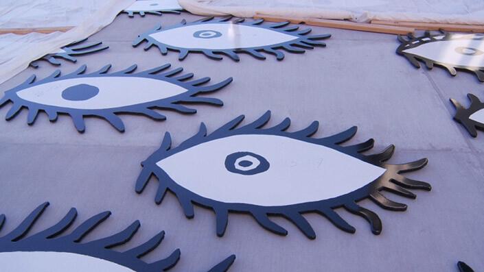 Yayoi Kusama Eyes are Singing Out, 2012; Steel, Enamel; enquire
