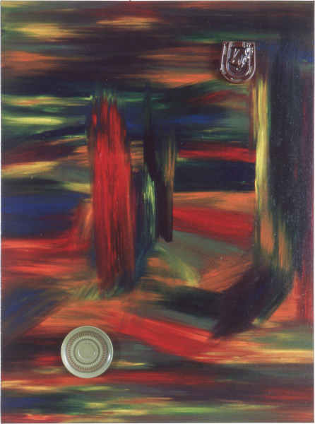 Dale Frank Red trees and yellow trees with meteors, 1984; acrylic and mixed media on canvas; 122 x 91 cm; enquire