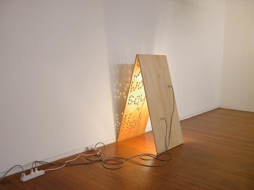 Christopher Hanrahan Yes, I would Say That, 2006; plywood and light fittings; 116 x 60 x 68 cm; enquire