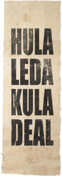 Newell Harry Untitled (HULA/LEDA/KULA/DEAL), 2015; Tongan Ngatu (bark cloth), ink; 310 x 100 cm; approx.; Edition of 2; enquire