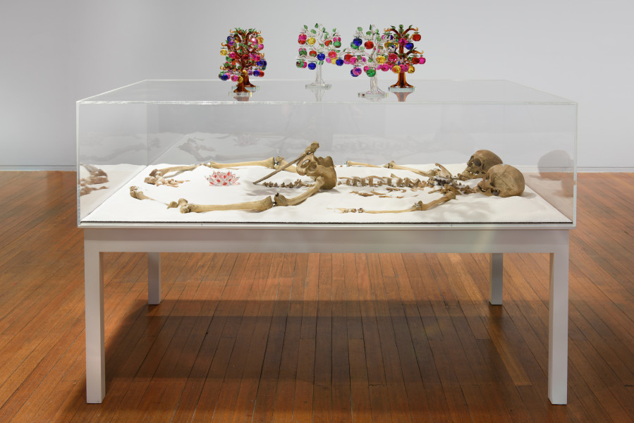 Dale Frank The Lovers, 2019; human bones reconfigured, refined sugar, blown and cut colour glass, table Perspex cover; 155 x 200 x 120 cm; enquire