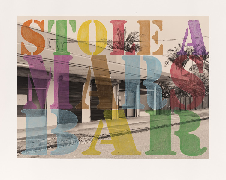 Tracey Moffatt Suburban No. 5. 'Stole a Mars Bar', 2013; from the series Suburban Landscapes; digital print hand coloured in water crayon; 81 x 99 cm; Edition of 8; enquire