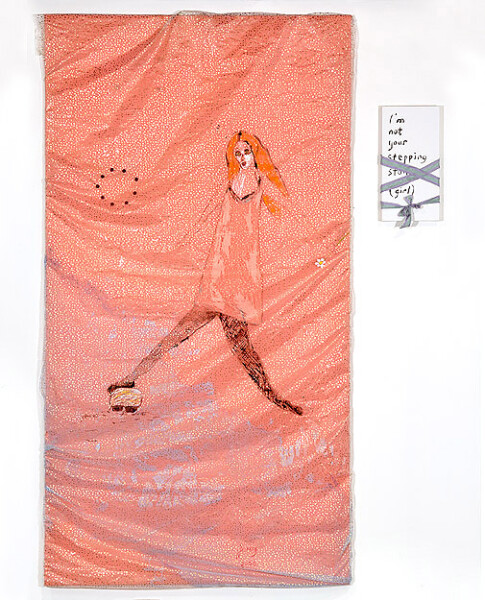 Jenny Watson I'm not your stepping stone (girl), 2008; acrylic and vintage buttons on rabbit skin glue primed Chinese organza over synthetic satin. Text panel - acrylic on prepared panel and ribbon; 255 x 136.5 cm; text panel 51 x 25.5 cm; enquire