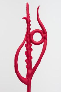 Caroline Rothwell Pot plant carmin red (Microtis unifolia after R Fitzgerald) (detail), 2018; Hydrostone, canvas, aluminium, epoxy glass, vinyl paint; 77 x 26 x 26 cm; Enquire