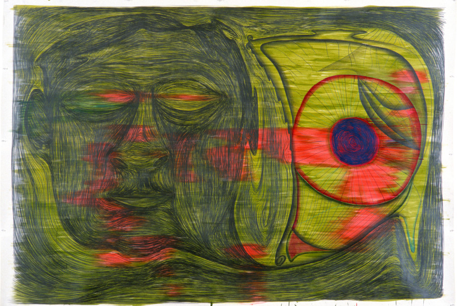 Dale Frank The Sleeper with a Strange Perspective on Life (The Abstracted Liver Eye), 1985; pencil on paper; 182 x 265 cm; enquire