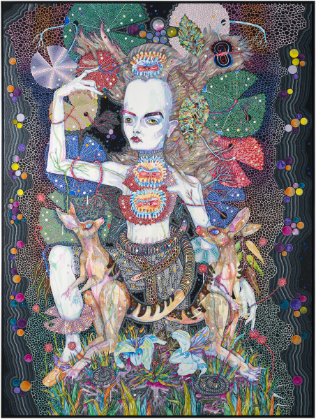 Del Kathryn Barton or fall again, 2014; synthetic polymer paint and gouache on polyester canvas ; 243 x 183 cm; Enquire