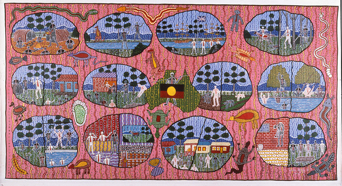 Robert Campbell Jnr Aboriginal History Facts, 1988; acrylic on canvas; enquire