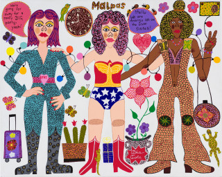 Kaylene Whiskey Seven Sistas Story (right panel), 2021; acrylic on linen; 122 x 456 cm; Triptych: 122 x 152 cm each; enquire